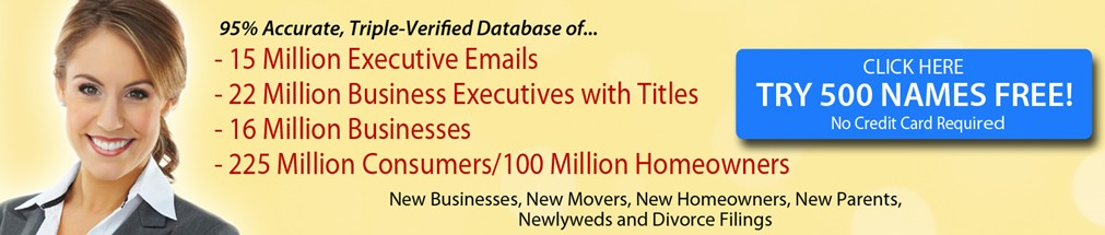 DatabaseUSA, New Business Lists, Email Lists, New Marketing Lists, Sales Leads, Mailing List